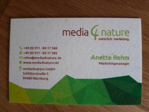 Visistenkarte media4nature Vorderseite