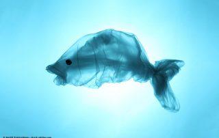 Fisch aus Plastik im Meer